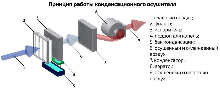 Принцип роботи конденсаційного осушувача Trotec